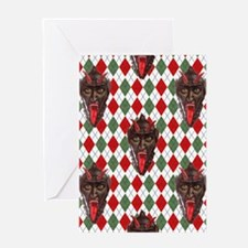 plaid monster krampus Greeting Cards