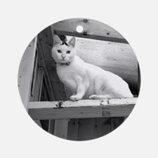 White Cat in the Barn Ornament (Round)