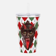 plaid monster krampus Acrylic Double-wall Tumbler