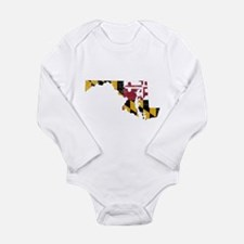 Funny Maryland map Long Sleeve Infant Bodysuit