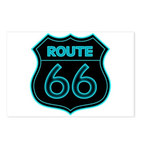 Route 66 Neon - Teal Postcards (Package of 8)