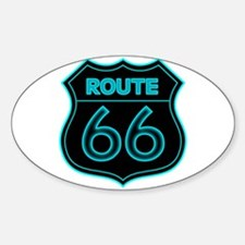 Route 66 Neon - Teal Oval Decal