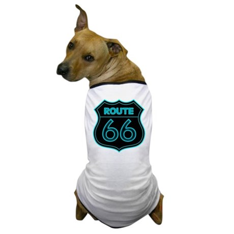 Route 66 Neon - Teal Dog T-Shirt