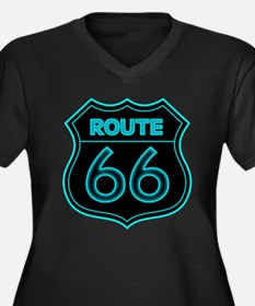 Route 66 Neon - Teal Women's Plus Size V-Neck Dark