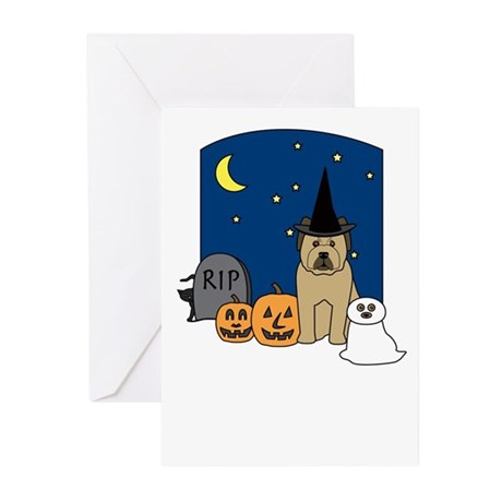 Briard Howling Halloween Greeting Cards (Pk of 10)