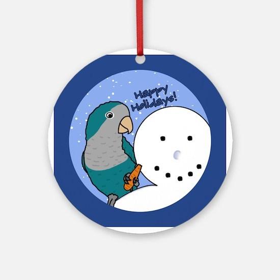 Snowman Blue Quaker Parakeet Christmas Ornament