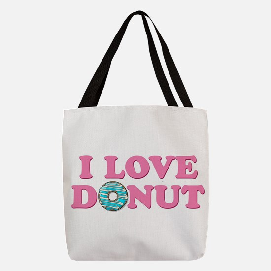 I Love Donut Polyester Tote Bag