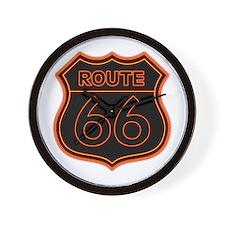 Route 66 Neon - Orange Wall Clock