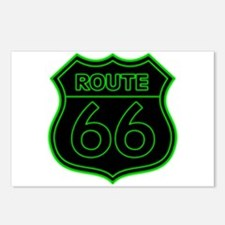 Route 66 Neon - Green Postcards (Package of 8)