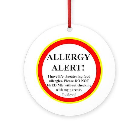 Food Allergy Alert Ornament (Round)