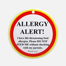 Food Allergy Alert Ornament (Round)