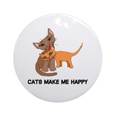Cats Make Me Happy Ornament (Round)