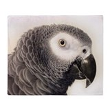 African grey parrot Fleece Blankets