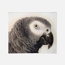 Cute African grey parrot Throw Blanket
