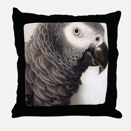 Cute African grey Throw Pillow