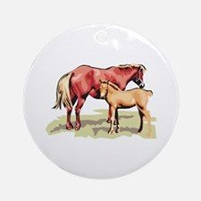Mommy & Baby Horse Ornament (Round)
