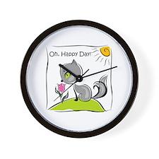 Happy Day Cat Wall Clock