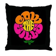 Cowsills Flower Logo (on black) Throw Pillow