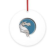 Grey Stallion Circle Design Ornament (Round)