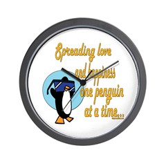 Spreading Love Penguins Wall Clock