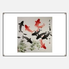 Koi Fish and Flowers Banner