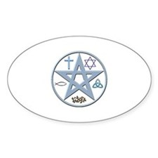 Christo-Pagan Pentacle Oval Decal
