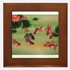 8 Golden fishes Framed Tile