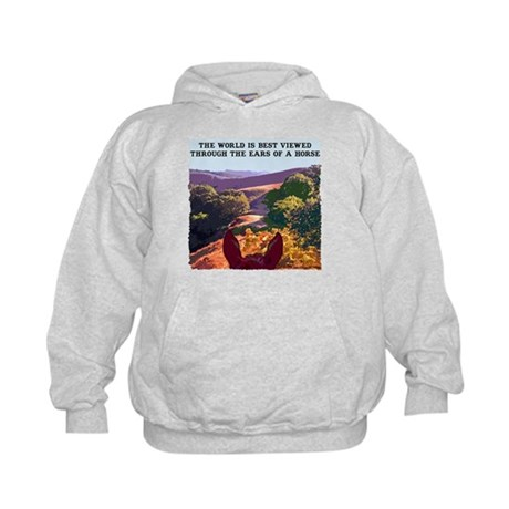 Through the ears of a horse. Kids Hoodie