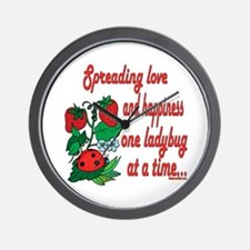 Spreading Love Ladybugs Wall Clock