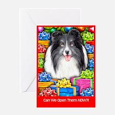 Sheltie Christmas Bi Black Greeting Card
