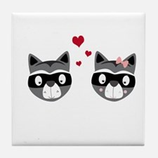 Racoons in love Tile Coaster
