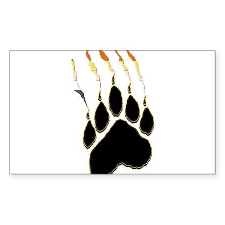 Bear Pride Paw Rip Rectangle Sticker