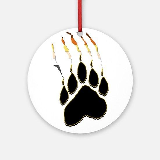 Bear Pride Paw Rip Ornament (Round)