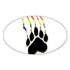 Gay Pride Paw Rip Oval Decal