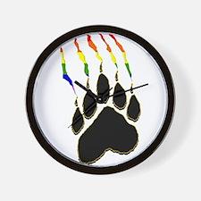 Gay Pride Paw Rip Wall Clock
