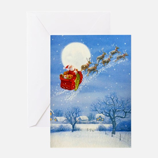 Santa with his Flying Reindeer Greeting Cards