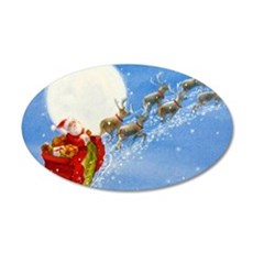 Santa with his Flying Reindeer Wall Decal