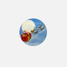 Santa with his Flying Reindeer Mini Button (100 pa