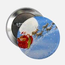 """Santa with his Flying Reindeer 2.25"""" Button (10 pa"""