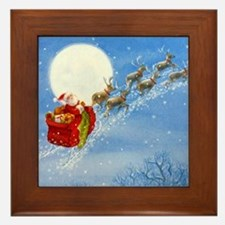 Santa with his Flying Reindeer Framed Tile