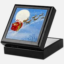 Santa with his Flying Reindeer Keepsake Box