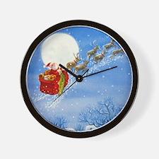 Santa with his Flying Reindeer Wall Clock