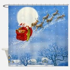 Santa with his Flying Reindeer Shower Curtain