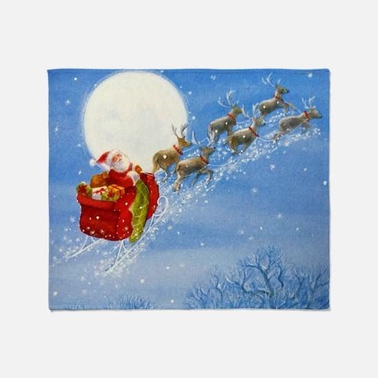 Santa with his Flying Reindeer Throw Blanket