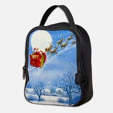 Santa with his Flying Reindeer Neoprene Lunch Bag