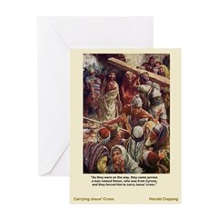 Carrying Jesus' Cross-Copping-Greeting Card