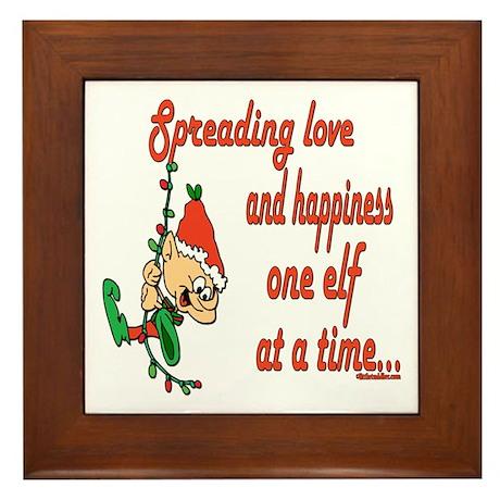 Spreading Love Elves Framed Tile
