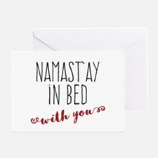 Namast'ay In Bed With You Greeting Cards
