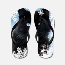 BLACK CAT & SNOWFLAKES (Blue) Flip Flops