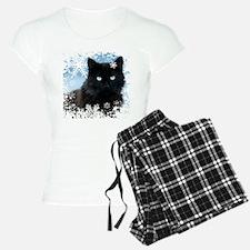 BLACK CAT & SNOWFLAKES (Blu Pajamas